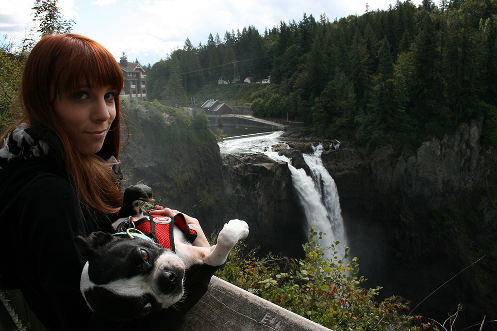 Top of the falls. Basil is not impressed.